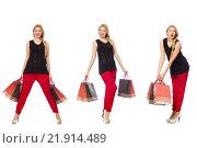 Купить «Set of woman with shopping bags on white», фото № 21914489, снято 19 марта 2019 г. (c) Elnur / Фотобанк Лори