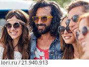 Купить «smiling young hippie friends over minivan car», фото № 21940913, снято 27 августа 2015 г. (c) Syda Productions / Фотобанк Лори