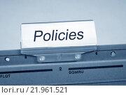 Купить «Policies Folder Register Index», фото № 21961521, снято 20 мая 2019 г. (c) PantherMedia / Фотобанк Лори