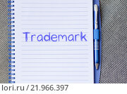Купить «Trademark write on notebook», фото № 21966397, снято 22 марта 2019 г. (c) PantherMedia / Фотобанк Лори