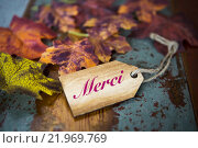 Купить «french word 'merci' (thank you) on wooden tag», фото № 21969769, снято 21 января 2019 г. (c) PantherMedia / Фотобанк Лори