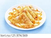 Купить «Блинчики с апельсиновым сиропом», фото № 21974569, снято 20 февраля 2016 г. (c) Татьяна Волгутова / Фотобанк Лори