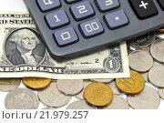 Купить «Калькулятор, российские монеты и доллар. Бизнес-натюрморт», эксклюзивное фото № 21979257, снято 20 февраля 2016 г. (c) Юрий Морозов / Фотобанк Лори