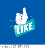 Векторный логотип like на синем фоне. Стоковая иллюстрация, иллюстратор Алексей Бутенков / Фотобанк Лори