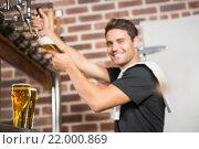 Купить «Handsome barman pouring a pint of beer», фото № 22000869, снято 24 октября 2015 г. (c) Wavebreak Media / Фотобанк Лори