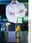 Купить «Two glasses of gin on bar counter», фото № 22015633, снято 22 сентября 2015 г. (c) Wavebreak Media / Фотобанк Лори