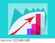 Бизнес график роста со стрелкой. Вектор. Стоковая иллюстрация, иллюстратор Ира Кураленко / Фотобанк Лори
