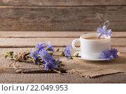Купить «Cup of tea with chicory on wooden background», фото № 22049953, снято 28 июня 2014 г. (c) Майя Крученкова / Фотобанк Лори