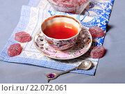Купить «Чай и мармелад», эксклюзивное фото № 22072061, снято 4 марта 2016 г. (c) Яна Королёва / Фотобанк Лори