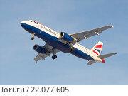 Cамолет Airbus A320-232 (G-EUUU) British Airways перед посадкой в аэропорту Пулково (2016 год). Редакционное фото, фотограф Виктор Карасев / Фотобанк Лори