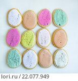 Пасхальные печенья в форме яиц. Стоковое фото, фотограф Елена Поминова / Фотобанк Лори