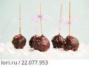 Шоколадные пирожные кейкпопс. Стоковое фото, фотограф Елена Поминова / Фотобанк Лори