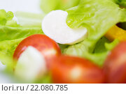 Купить «close up of vegetable salad with mozzarella cheese», фото № 22080785, снято 26 апреля 2015 г. (c) Syda Productions / Фотобанк Лори