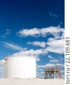 Белый резервуар в солнечный день. Стоковое фото, фотограф Георгий Shpade / Фотобанк Лори