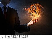 Купить «Copyright symbol burning in fire», фото № 22111289, снято 4 октября 2014 г. (c) Sergey Nivens / Фотобанк Лори