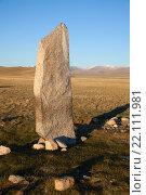 Купить «Древние надгробия в степях Алтая», фото № 22111981, снято 2 сентября 2012 г. (c) hunta / Фотобанк Лори