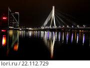 Купить «Вантовый мост через реку Даугава, Рига, Латвия», фото № 22112729, снято 5 марта 2016 г. (c) Мальцев Артур / Фотобанк Лори