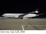 Самолет Боинг 767-300F авиакомпании Cargojet (бортовой номер C-GVIJ) на стоянке в аэропорту Шереметьево (2015 год). Редакционное фото, фотограф Sergey Kustov / Фотобанк Лори