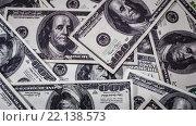 Купить «Фон из ста долларовых банкнот», видеоролик № 22138573, снято 28 января 2016 г. (c) Андрей Армягов / Фотобанк Лори