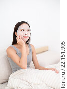 Купить «Woman use of the paper mask at home», фото № 22151905, снято 20 марта 2019 г. (c) PantherMedia / Фотобанк Лори