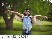 Купить «Young girl pretending to fly», фото № 22163629, снято 26 ноября 2015 г. (c) Wavebreak Media / Фотобанк Лори