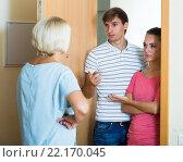Nervous neighbors coming to old lady with complains. Стоковое фото, фотограф Яков Филимонов / Фотобанк Лори