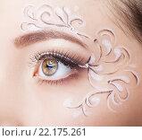 Купить «Female eye with fase art makeup», фото № 22175261, снято 12 февраля 2016 г. (c) Serg Zastavkin / Фотобанк Лори