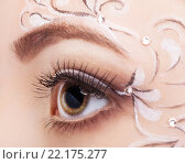 Купить «Female eye with fase art makeup», фото № 22175277, снято 12 февраля 2016 г. (c) Serg Zastavkin / Фотобанк Лори