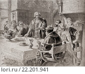 Купить «Columbus and the egg. Christopher Columbus replying to his critics, who suggested that his voyage to the New World was simple and easily done by others...», фото № 22201941, снято 15 декабря 2017 г. (c) age Fotostock / Фотобанк Лори