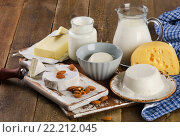 Купить «Dairy products on a wooden table», фото № 22212045, снято 2 февраля 2016 г. (c) Tatjana Baibakova / Фотобанк Лори