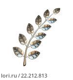 Металлическая лавровая ветвь. Стоковая иллюстрация, иллюстратор Роман Иванов / Фотобанк Лори