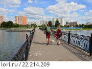 Купить «Мост через Графский пруд. Район Вешняки. Москва», эксклюзивное фото № 22214209, снято 3 августа 2015 г. (c) lana1501 / Фотобанк Лори