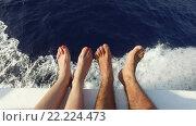 Купить «feet on deck of sailboat or yacht sailing in sea», видеоролик № 22224473, снято 13 февраля 2016 г. (c) Syda Productions / Фотобанк Лори