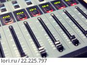 Купить «control panel at recording studio or radio station», фото № 22225797, снято 8 апреля 2015 г. (c) Syda Productions / Фотобанк Лори