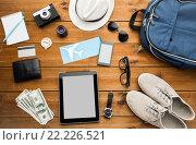 Купить «close up of gadgets and traveler personal stuff», фото № 22226521, снято 8 февраля 2016 г. (c) Syda Productions / Фотобанк Лори