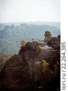 Человек на скалах, смотровая площадка на скалах Бастай, Германия (2015 год). Стоковое фото, фотограф Дункель Артем / Фотобанк Лори