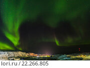 Купить «Aurora, Barents Sea coast, Russia», фото № 22266805, снято 10 марта 2016 г. (c) Наталья Волкова / Фотобанк Лори