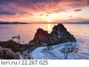 Купить «Закат над замерзшим озером Байкал», фото № 22267025, снято 7 марта 2016 г. (c) Стивен Жингель / Фотобанк Лори