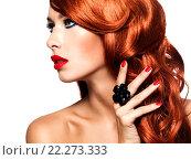 Купить «Beautiful sensual woman with long red hairs.», фото № 22273333, снято 24 сентября 2013 г. (c) Валуа Виталий / Фотобанк Лори
