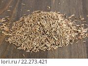 Купить «Семена тмина на столе», фото № 22273421, снято 13 марта 2016 г. (c) Леонид Штандель / Фотобанк Лори