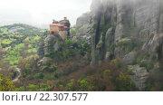 Купить «Монастырь Святого Николая Анапавсаса в монастырском комплексе Метеоры», видеоролик № 22307577, снято 21 марта 2016 г. (c) Parmenov Pavel / Фотобанк Лори