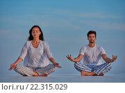 Купить «young couple practicing yoga», фото № 22315029, снято 22 октября 2018 г. (c) easy Fotostock / Фотобанк Лори