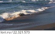 Купить «Sea Surf Waves on Sandy Beach», видеоролик № 22321573, снято 29 февраля 2016 г. (c) Юрий Брыкайло / Фотобанк Лори