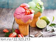 Купить «Мороженое с разными вкусами на столе», фото № 22323213, снято 8 марта 2016 г. (c) Елена Веселова / Фотобанк Лори