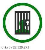 Купить «Prison flat green and gray colors rounded glyph icon», фото № 22329273, снято 20 февраля 2019 г. (c) easy Fotostock / Фотобанк Лори