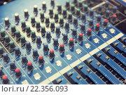 Купить «control panel at recording studio or radio station», фото № 22356093, снято 8 апреля 2015 г. (c) Syda Productions / Фотобанк Лори