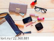 Купить «Содержимое женской сумки разбросано на полу», фото № 22360881, снято 26 августа 2015 г. (c) Константин Лабунский / Фотобанк Лори
