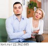 Купить «Conflict of aged woman and young guy», фото № 22362685, снято 20 ноября 2018 г. (c) Яков Филимонов / Фотобанк Лори