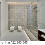 Купить «Современная ванная комната», фото № 22363065, снято 20 февраля 2019 г. (c) Andriy Bezuglov / Фотобанк Лори