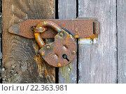 Купить «Навесной замок на деревянной двери», фото № 22363981, снято 26 марта 2016 г. (c) Зезелина Марина / Фотобанк Лори